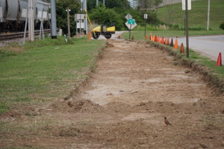 Excavation of the bikeway is started.
