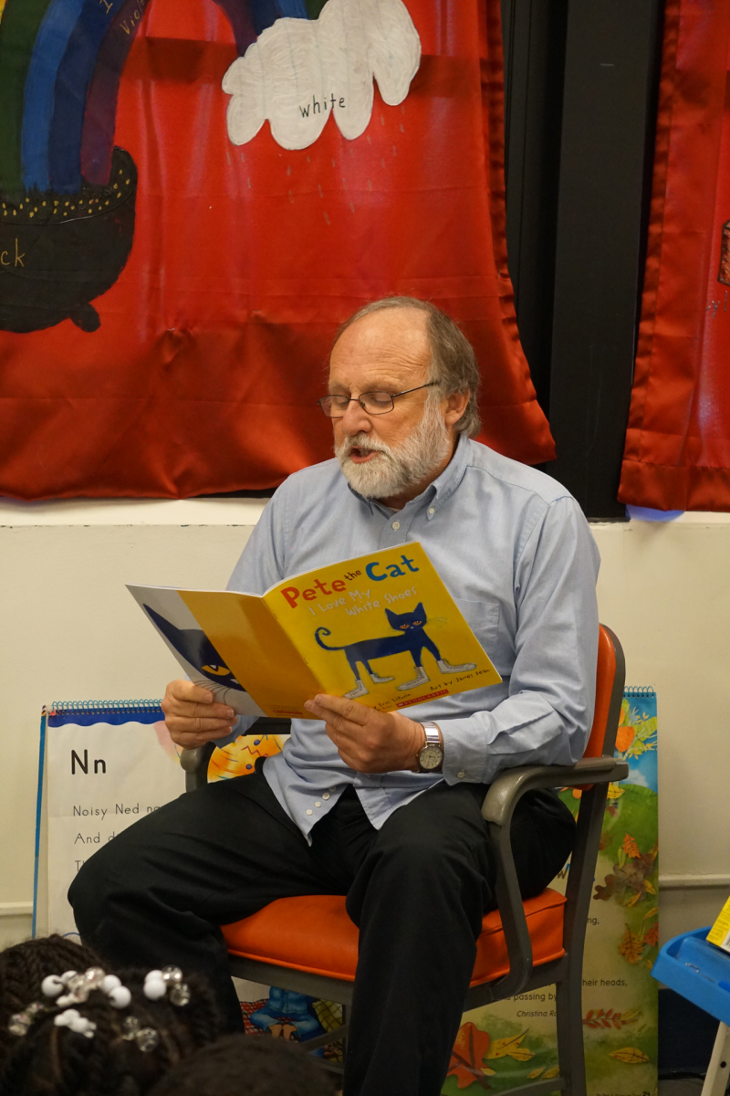David Crowley reads to students at Eunice Smith Elementary.